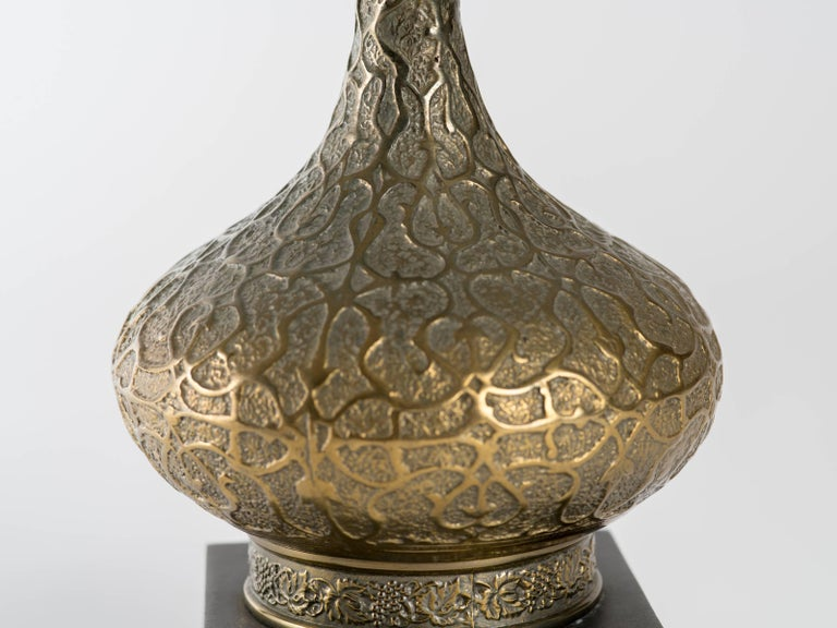 Plated 1970s Moorish Style Brass Genie Bottle Lamp  For Sale