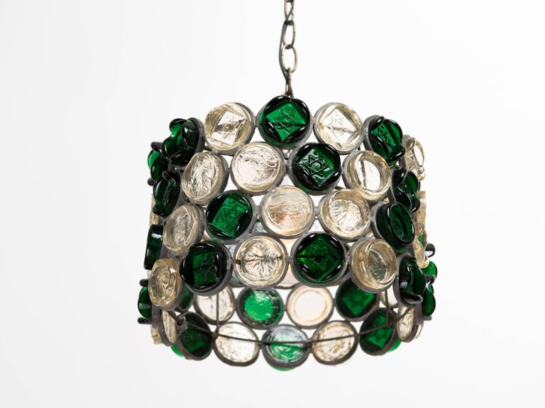 Studio crafted glass disc drum chandelier with alternating leaf and star of David motifs. Hand wrought metal chandelier body measures 13.75 inches diameter x 9 inches height, with chain, 36.5 inches overall. Height adjustable by adding or removing
