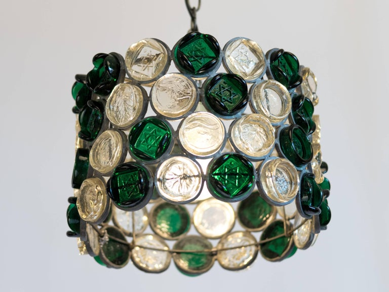 Circular Glass Disc Sculpture Chandelier In Good Condition For Sale In New York, NY