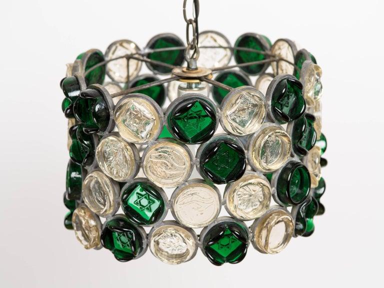 Circular Glass Disc Sculpture Chandelier For Sale 3