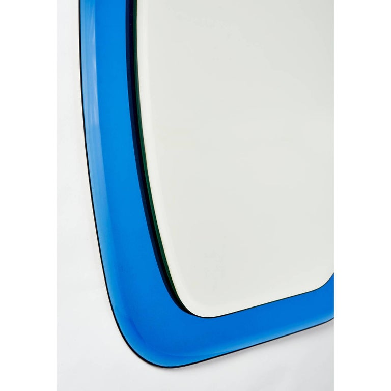 Mid-Century Modern Shaped Beveled Blue Mirror, Italy, 1970s For Sale