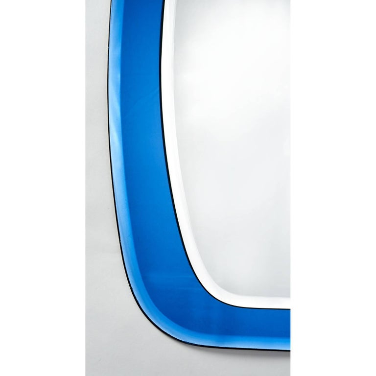Italian Shaped Beveled Blue Mirror, Italy, 1970s For Sale