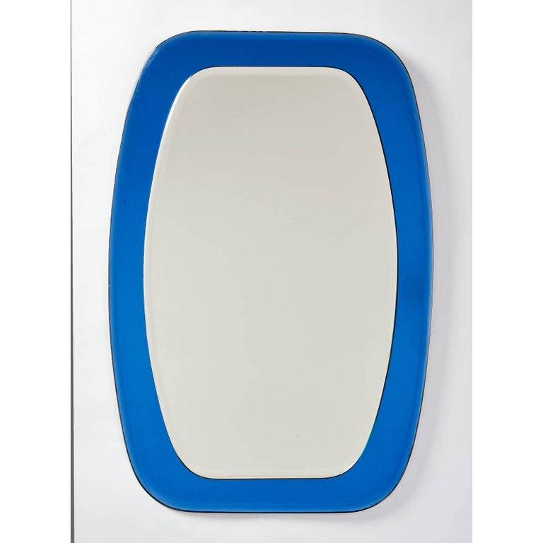 Shaped Beveled Blue Mirror, Italy, 1970s In Excellent Condition For Sale In New York, NY