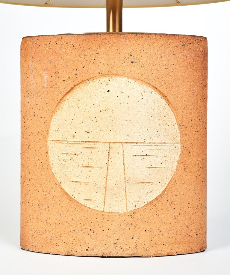 Mid-Century Modern Oval Ceramic Lamp with Incised Geometric Motif, France 1970s For Sale