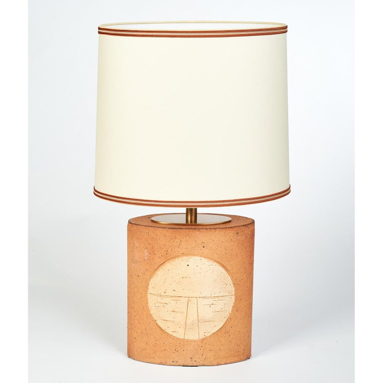 French Oval Ceramic Lamp with Incised Geometric Motif, France 1970s For Sale