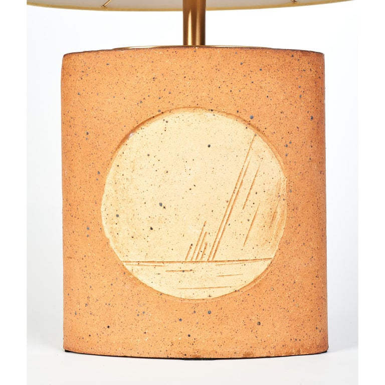 Oval Ceramic Lamp with Incised Geometric Motif, France 1970s For Sale 1