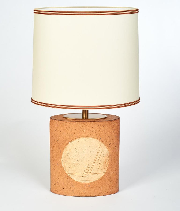 Oval Ceramic Lamp with Incised Geometric Motif, France 1970s For Sale 2