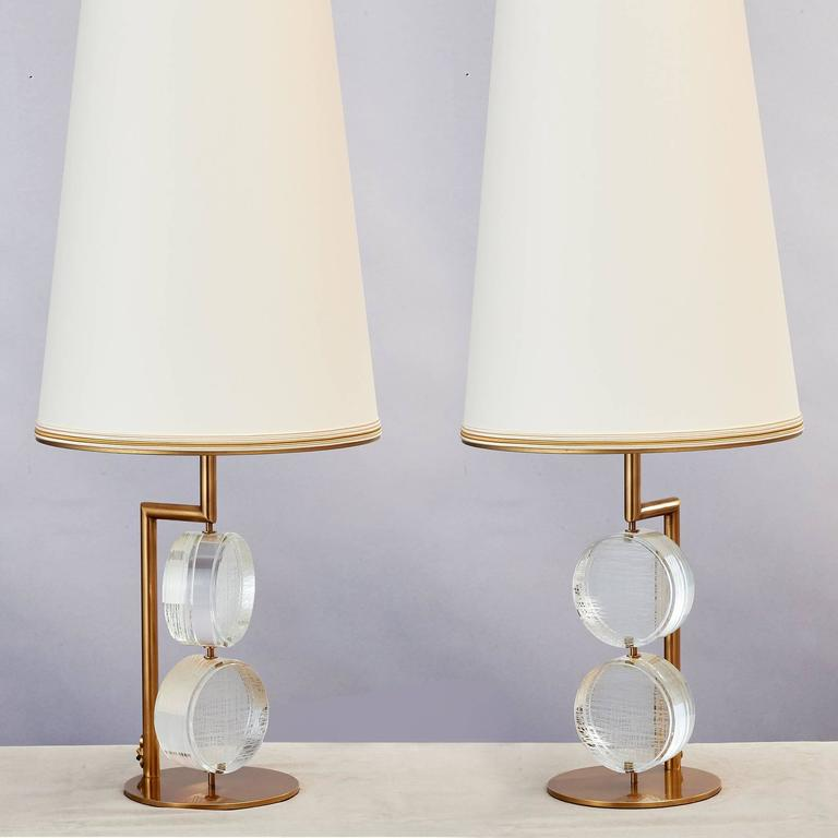Bronze Limited Edition Pair of Etched Glass Lamps by Roberto Rida For Sale