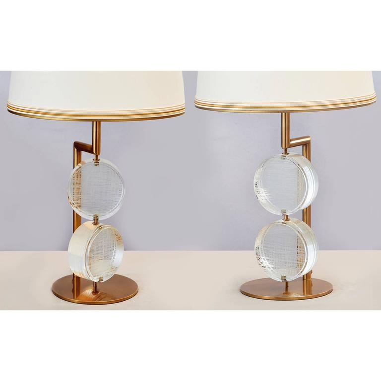 Limited Edition Pair of Etched Glass Lamps by Roberto Rida For Sale 1