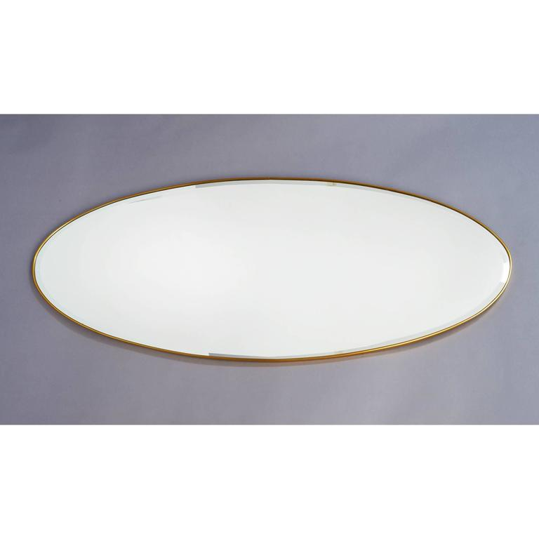 Mid-Century Modern Long Oval Brass Mirror, Italy, 1950s For Sale