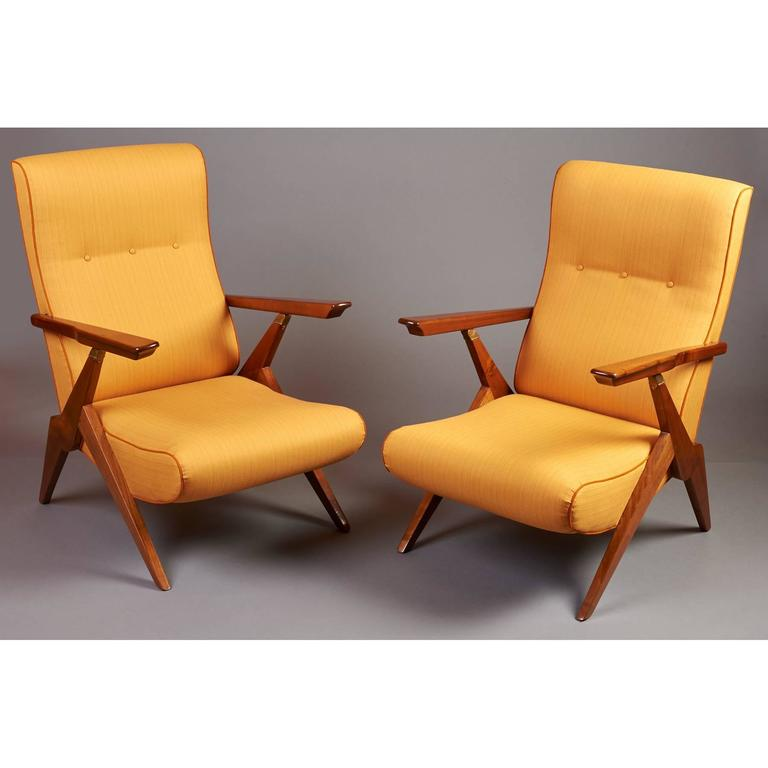 Stained Pair of Reclining Armchairs, Italy 1950s For Sale