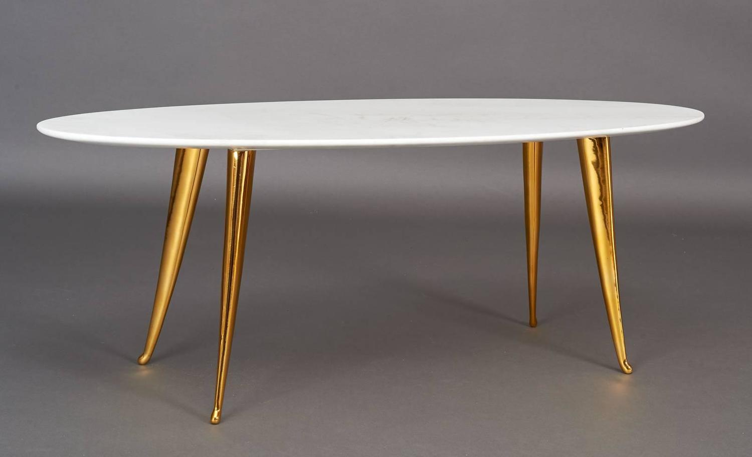 Elegant Oval Marble And Bronze Italy 1960s Coffee Table At 1stdibs