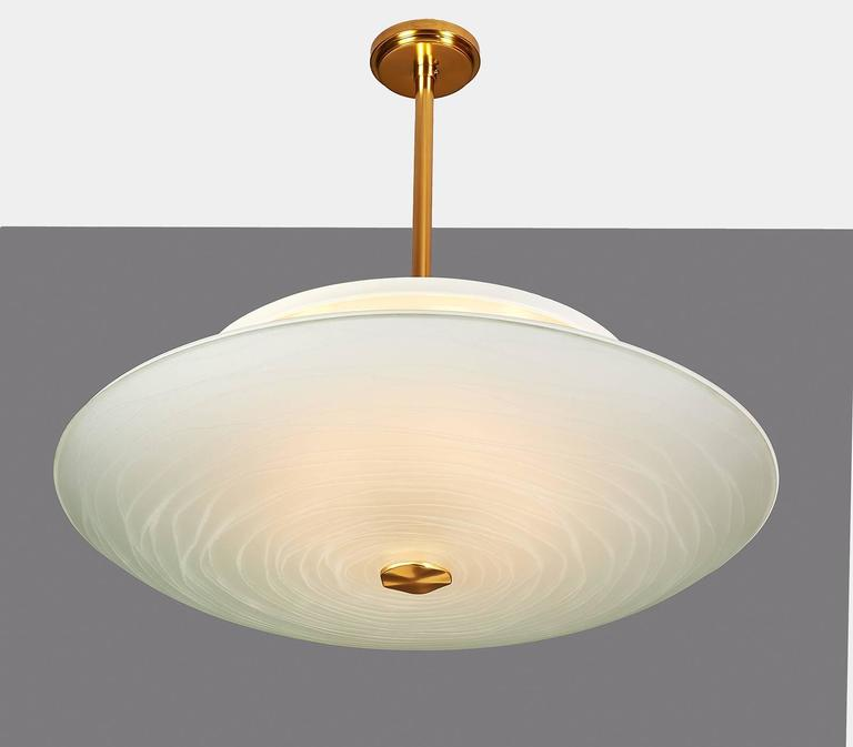 Mid-Century Modern Exceptional Pietro Chiesa Glass Chandelier for Fontana Arte For Sale