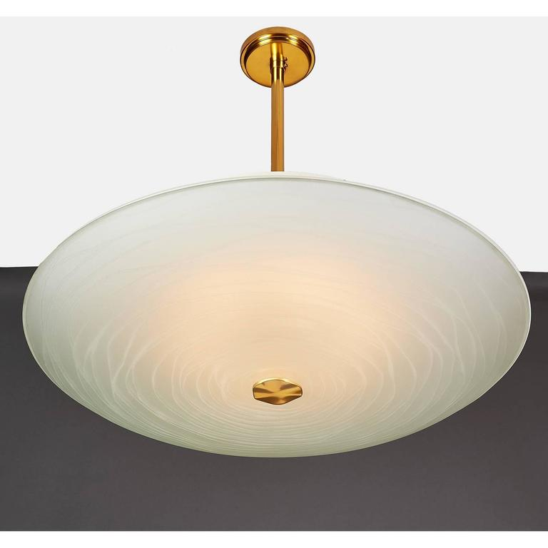 Mid-20th Century Exceptional Pietro Chiesa Glass Chandelier for Fontana Arte For Sale