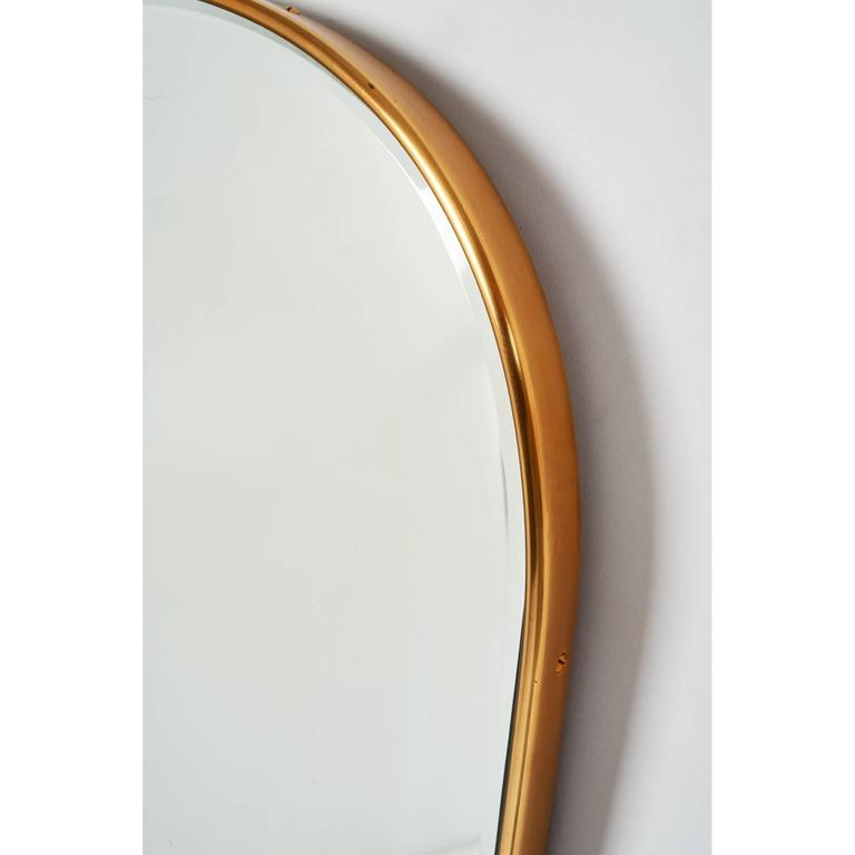 Mid-Century Modern Tear-Drop Brass Mirror, Italy, 1950s For Sale