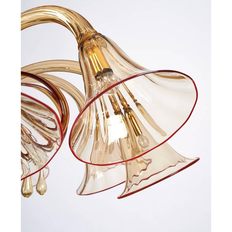 Mid-Century Modern Magnificent Murano Blown Glass Chandelier by Venini with Red Accent, 1920s For Sale
