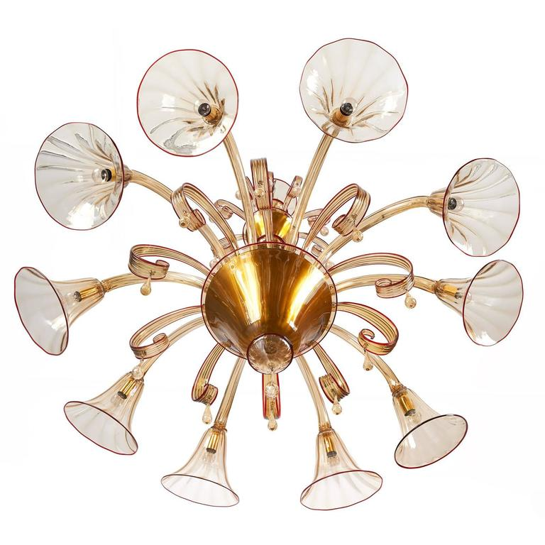 Magnificent Murano Blown Glass Chandelier by Venini with Red Accent, 1920s For Sale 2