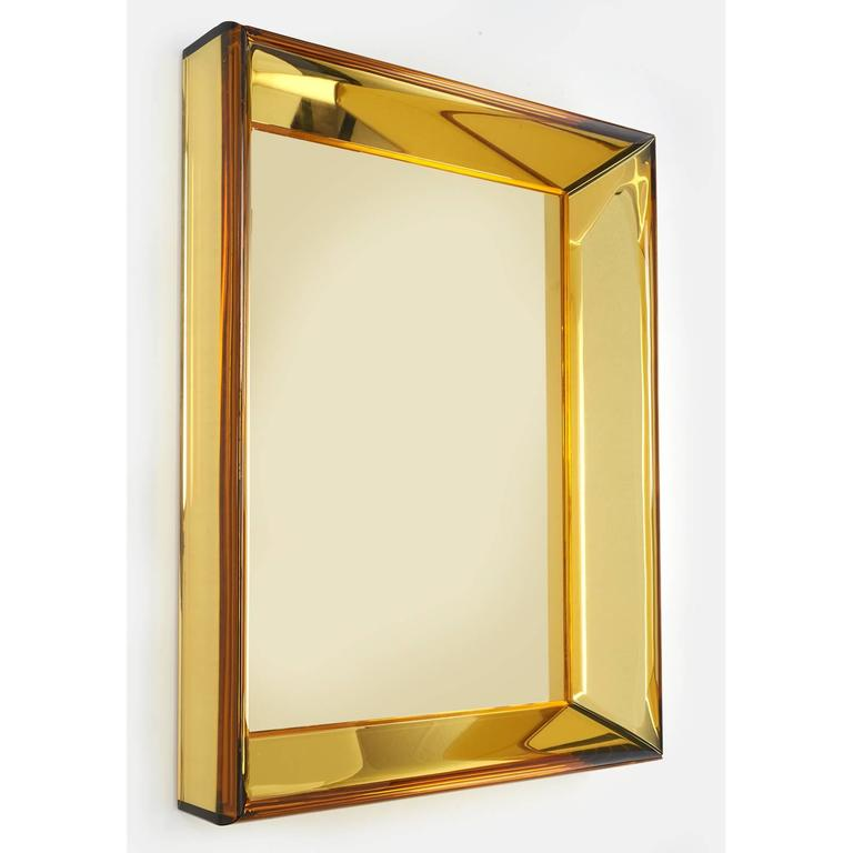 Mid-Century Modern Magnificent Golden Yellow Glass Mirror by Roberto Rida For Sale