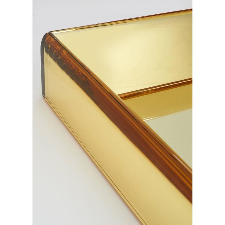 Italian Magnificent Golden Yellow Glass Mirror by Roberto Rida For Sale
