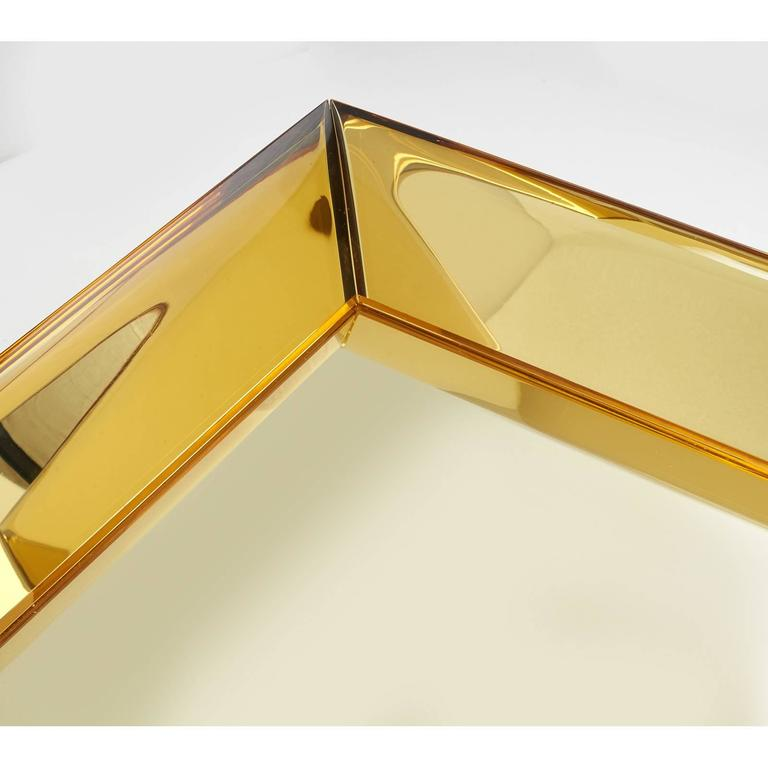 Magnificent Golden Yellow Glass Mirror by Roberto Rida In Excellent Condition For Sale In New York, NY