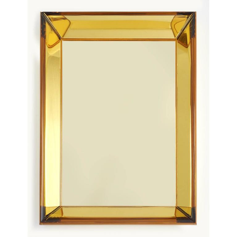 Contemporary Magnificent Golden Yellow Glass Mirror by Roberto Rida For Sale