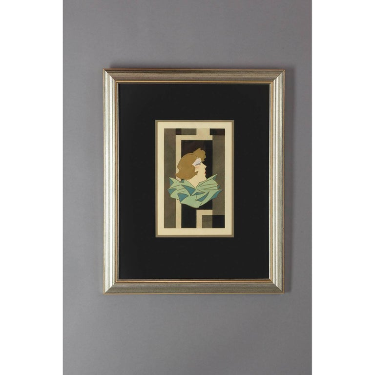 Stylized Art Deco Gouache of a Woman, France, 1920s In Excellent Condition For Sale In New York, NY