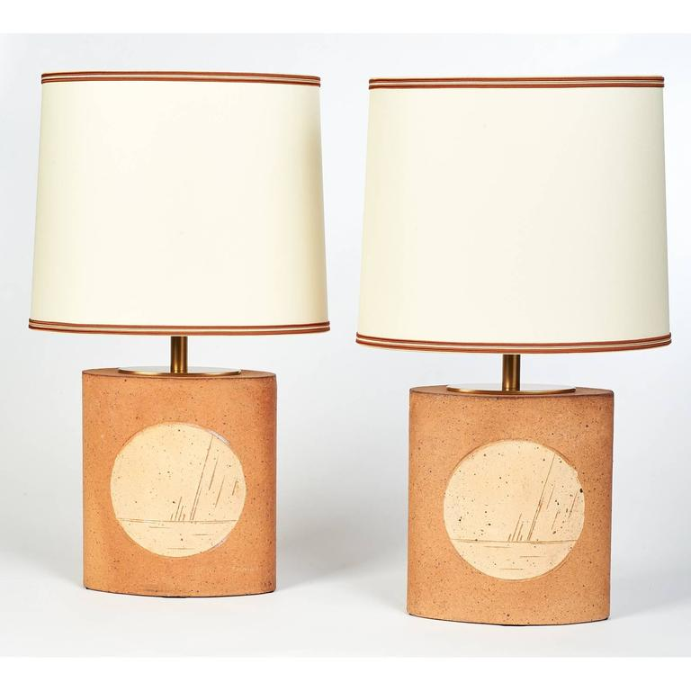 Pair of Oval Ceramic Lamps, France, 1970s 2