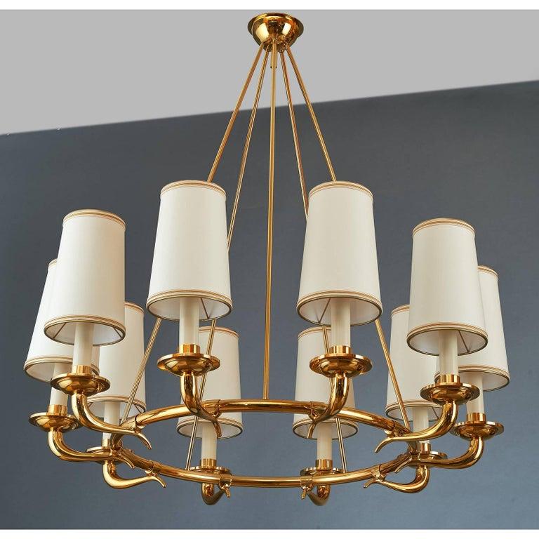 Mid-Century Modern Elegant Ten Branch Polished Brass Chandelier, Italy, 1950s For Sale