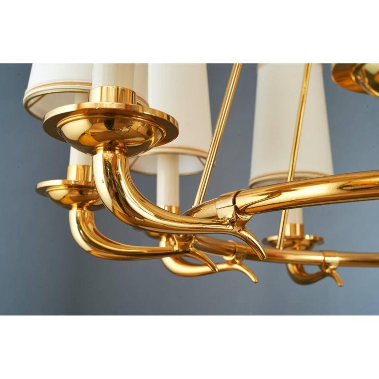 Italian Elegant Ten Branch Polished Brass Chandelier, Italy, 1950s For Sale