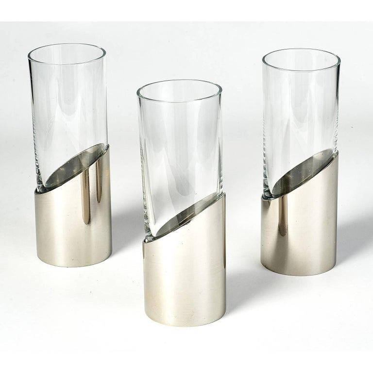 Mid-Century Modern Set of Three Vases by Gabriella Crespi, 1970s For Sale