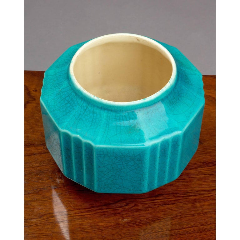 Art Deco Crackled Ceramic Planter or Vase by Boch Freres, 1930s For Sale