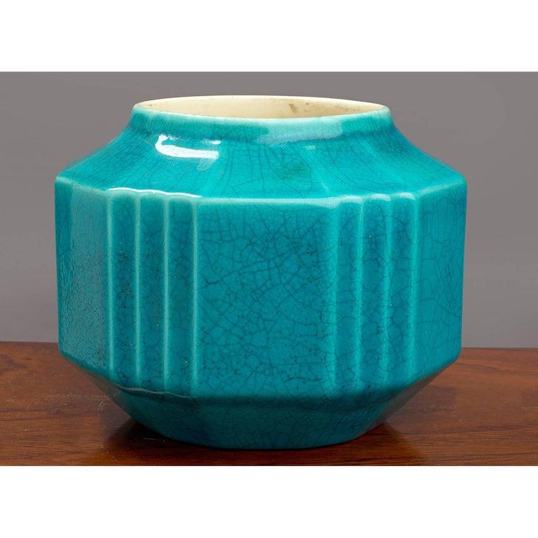 Belgian Crackled Ceramic Planter or Vase by Boch Freres, 1930s For Sale