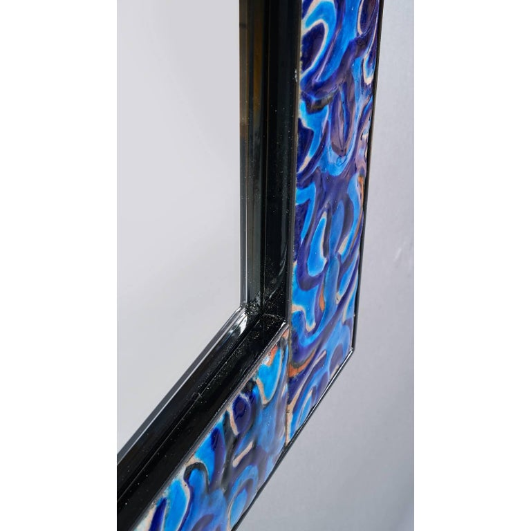 Italian Enameled Mirror by Bruno Martinazzi, 1970s For Sale
