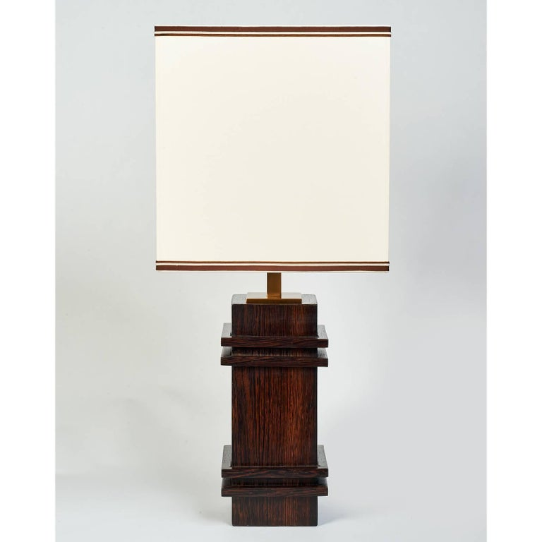 Palmwood Table Lamp in the Manner of Jacques Adnet, 1950s 4
