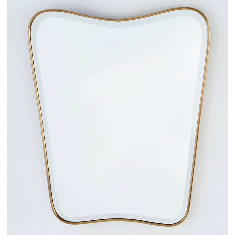 Italian 1950s Shaped Brass Wall Mirror 3