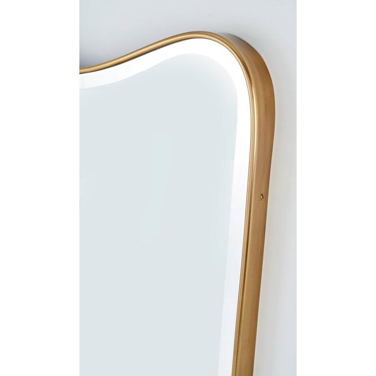 Italian 1950s Shaped Brass Wall Mirror 4