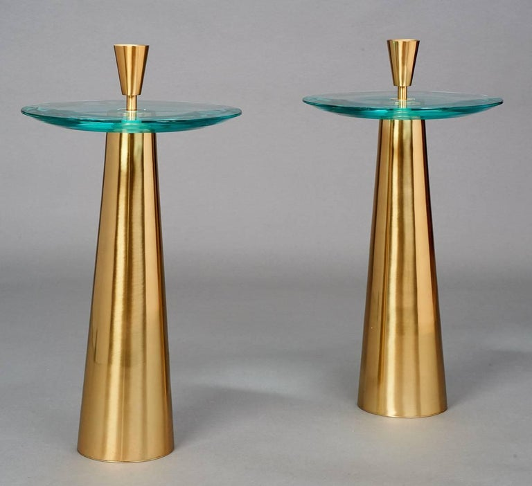 Roberto Rida (b. 1943) A sculptural pair of side tables  Triple beveled glass, polished tapered brass base and finial Signed, Italy 2017 Limited edition, exclusive to L' Art de Vivre Sold and priced individually Dimensions: 13.5 Ø x 22.5 H at glass.