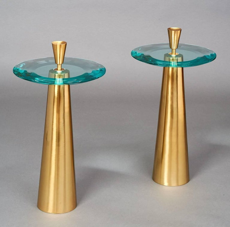 Limited Edition Side Tables by Roberto Rida with Triple Beveled Glass Top In Excellent Condition For Sale In New York, NY