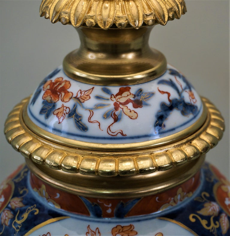 Pair of French 19th Century Electrified Porcelain Oil Lamp For Sale 1