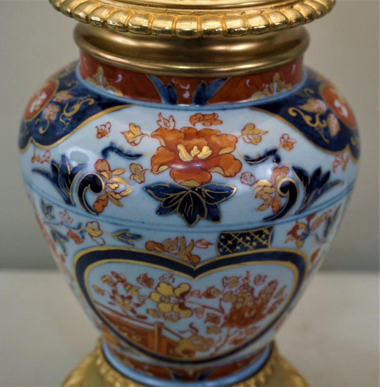 Pair of French 19th Century Electrified Porcelain Oil Lamp In Good Condition For Sale In Fairfax, VA