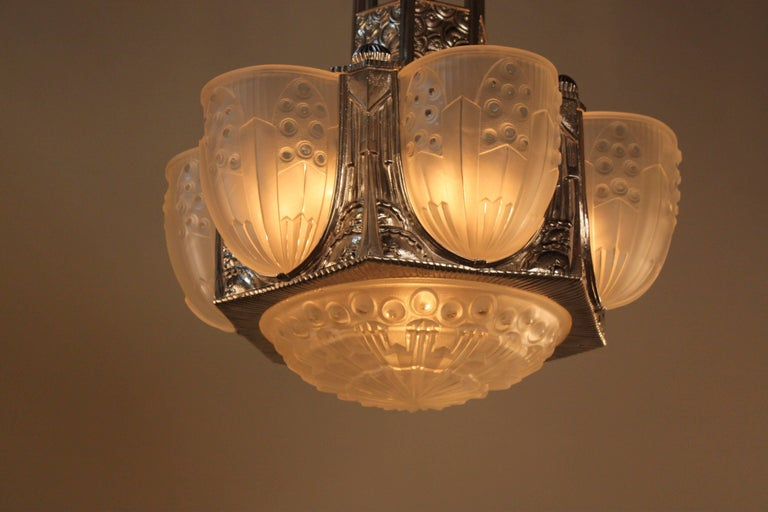 Stunning rare French Art Deco chandelier by
