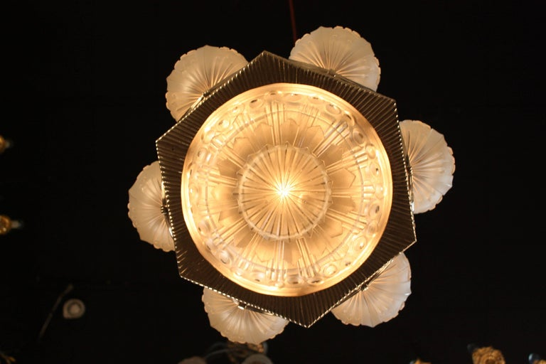 French Art Deco Geometric Chandelier Signed by G. Leleu In Good Condition For Sale In Fairfax, VA