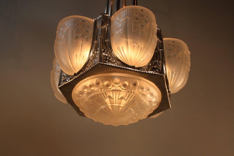 Early 20th Century French Art Deco Geometric Chandelier Signed by G. Leleu For Sale