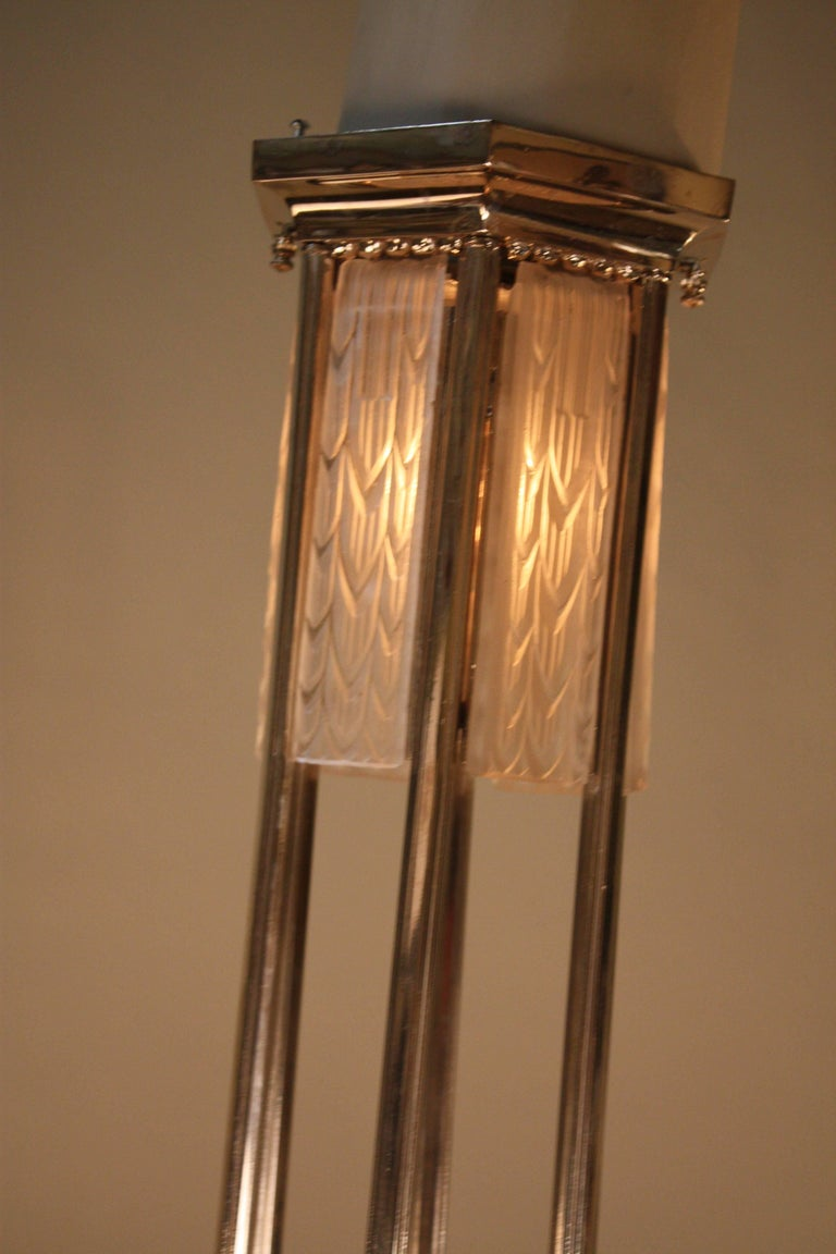 French Art Deco Geometric Chandelier Signed by G. Leleu For Sale 1