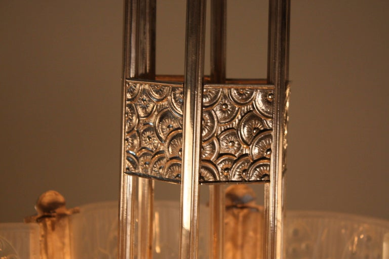 French Art Deco Geometric Chandelier Signed by G. Leleu For Sale 2