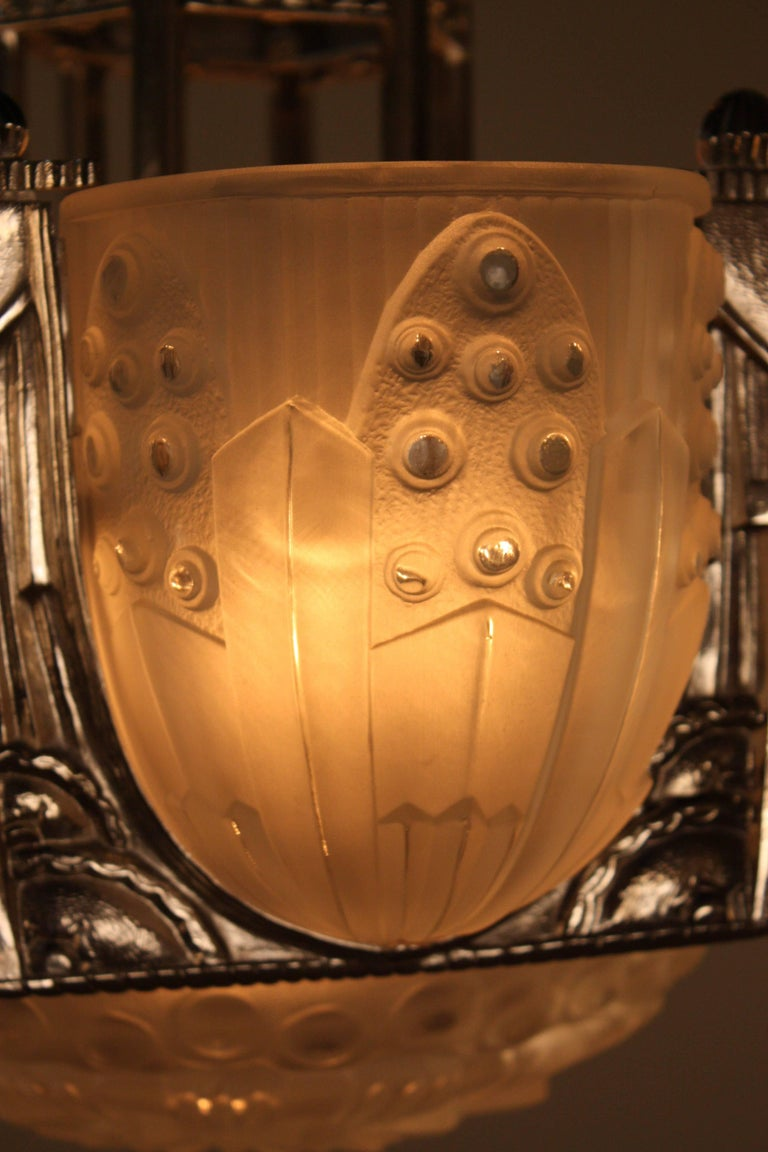 French Art Deco Geometric Chandelier Signed by G. Leleu For Sale 4