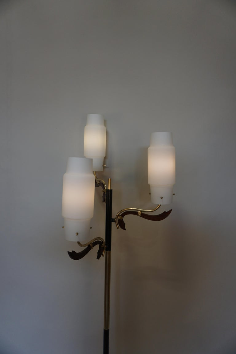Italian 1960s three glass shades with bronze, marble and wood floor lamp.