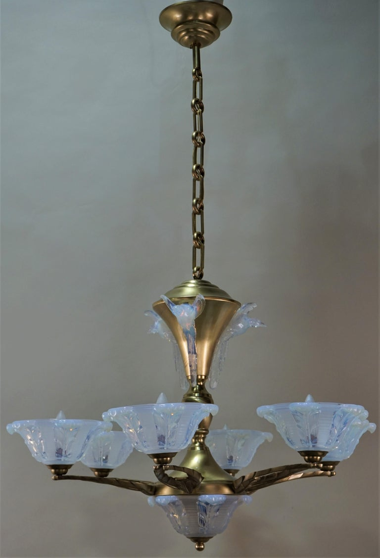 French Art Deco Chandelier with Opalescent Glass Shades by Ezan For Sale 6