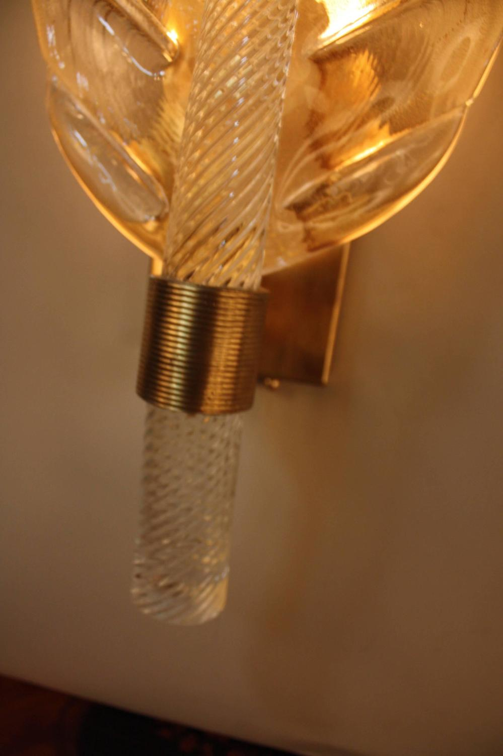 Murano Glass Wall Sconces : Pair of Murano Glass Wall Sconces at 1stdibs