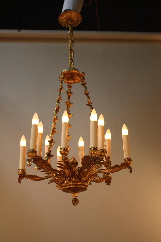 French art nouveau dor bronze chandelier for sale at 1stdibs for Chandelier art nouveau